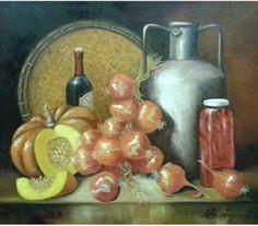 Pintura à óleo  Cebolas e pimentas  Ana Paula Campos Teixeira