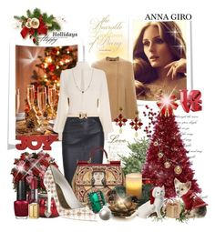 """Merry Christmas and Happy Holidays to all my followers and to each and every creative polyvore user"" by annagiro ❤ liked on Polyvore featuring Pier 1 Imports, Derek Lam, Alexander McQueen, Lene Bjerre, Dolce&Gabbana, Sylva & Cie, Forever New, Elsa Peretti, OPI and Artland"