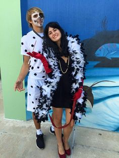 halloween costume idea cute couple cute outfit style trend trendy cruella deville original dog puppy costume disney movie foodporn velvet cupcakes popular picture instagram cute girl costume hot dress tight thanksgiving holiday christmas relationships couples love jewelry pearl earrings Dalmatian puppy