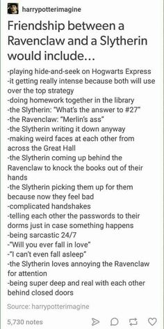 Friendship between slytherin and ravenclaw hp harry potter hogwarts houses Harry Potter Universal, Harry Potter Fandom, Harry Potter Memes, Potter Facts, Sassy Harry Potter, Dramione, Drarry, Ford Memes, Slytherin