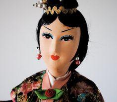 vintage doll figurine asian souvenir dolls by daisychainvintage