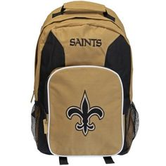 New Orleans Saints - Logo Medium Backpack by NFL. $24.95. Officially Licensed New Orleans Saints Merchandise. Haul your gear with style with this awesome black and gold backpack from the New Orleans Saints, with an embroidered logo and felt applique team emblem on the back. Officially licensed by the NFL, it features a spacious main compartment, padded adjustable back straps, large zippered back pouch with inner pockets, two mesh side pouches and durable nylon construction ...