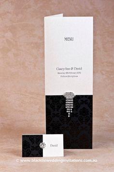 Black Tie Wedding Invitations | Ebony Grace: Place Card & Free Standing Menu; http://blacktieweddinginvitations.com.au/galleries/premium-wedding-invitations/grace-ebony#