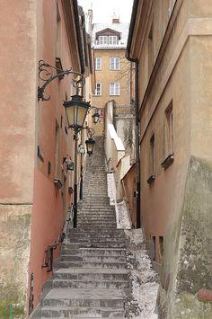 kamienne schodki, Warsaw old town Poland