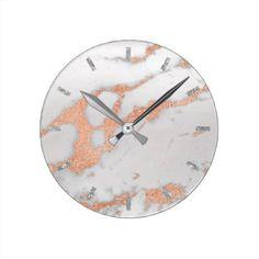 Rose Gold White Gray Carrara Marble Stone Copper Round Clock - rose gold style stylish diy idea custom