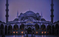 Download wallpapers Blue Mosque, Istanbul, evening, religious symbols, minarets, Konstantinopol, Turkey