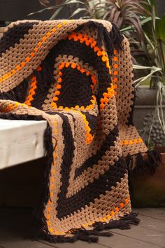 Vintage Giant Granny Square Crochet Blanket • 45 x 45 • Orange, Dark Brown and…