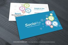 3 Social Media Business Cards ~~ Here's a great alternative business card template for a social media business, marketer, or social media analyst. Available in three design variation (a great value for your purchase!), the templates are fully layered, easy to edit and print-ready.    Featur…