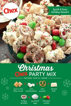 christmas snacks Have your guests in the Holiday spirit with our recipe for Christmas Chex Party Mix! Made with festive colored candies and sweet vanilla, this recipe brings Holiday cheer to any gathering. Holiday Snacks, Christmas Party Food, Christmas Cooking, Christmas Desserts, Holiday Recipes, Christmas Mix, Christmas Puppy Chow, Christmas Treats For Gifts, Christmas Recipes For Kids