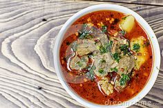 Bowl of hot hungarian goulash
