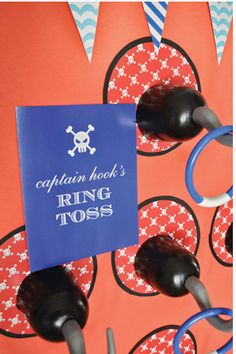 Captain Hook's ring toss- for classroom Halloween party. (Maybe a pirate themed party?) Halloween & sea mixed!