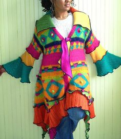 Multicolor Mohair Sweater Coat