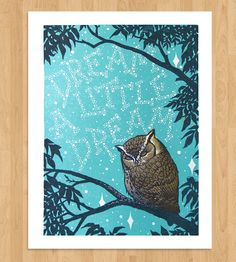Sweet dreams to you over there in your corner. xoxo :: Dream A Little Dream Letterpress Print by Roll  Tumble