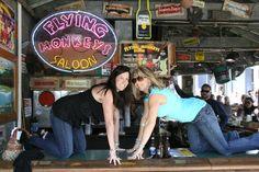 On the bar at the Flying Monkey Saloon - Key West Pub Crawl Key West Bars, Bar Scene, Key West Florida, Beer Brewery, Pub Crawl, Beautiful Islands, Times Square, At Least, Popular