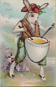 Vintage Easter Bunny Drummer 1908  Greetings Postcard Card Victorian Embossed #Easter