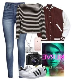 """Vee: Nerve"" by holographicqueen ❤ liked on Polyvore featuring H&M, Eos, Wood Wood and adidas Originals"