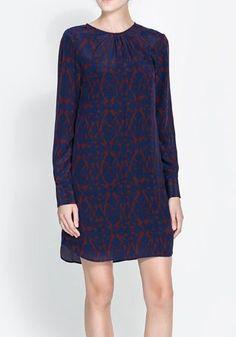 Blue Geometric Long Sleeve Above Knee Polyester Dress