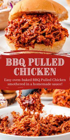 Shredded Chicken Sandwiches, Pulled Chicken Recipes, Easy Bbq Chicken, Chicken Sandwich Recipes, Shredded Chicken Recipes, Chicken Pulled Bbq, Bbq Chicken Wraps, Chicken Pockets, Bbq Sandwich