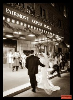 Candid wedding photography outside the Fairmont Copley Plaza, bride and groom at their Fairmont Copley Plaza Wedding