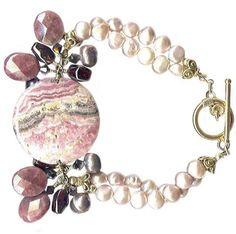 rhodochrosite xl disk vermeil toggle pearl garnet statement bracelet | Meredithbead - Jewelry on ArtFire