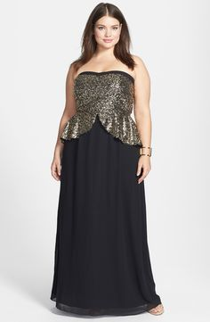 City Chic Embellished Peplum Chiffon Gown (Plus Size) | Nordstrom