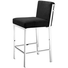 Eichholtz Scott Barstool Black - Stainless Steel (£545) ❤ liked on Polyvore featuring home, furniture, stools, barstools, silver, black barstools, black bar stools, onyx furniture, black counter height stools and polish furniture