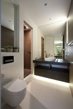 Black wooden vanities modern apartment bathroom design with round wash basi Apartment Interior, Bathroom Interior, Modern Bathroom, Small Bathroom, Apartment 9, Bathroom Storage, Bad Inspiration, Bathroom Inspiration, Estilo Interior