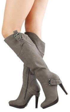Motive04 Heel Strap Nubuck Knee High Boots GRAY