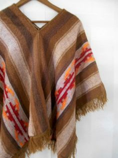 Vintage earthy woven blanket Poncho by houuseofwren on Etsy,