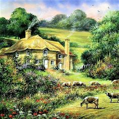 Countryside Landscape 2 - Counted cross stitch pattern in PDF format by Maxispatterns on Etsy