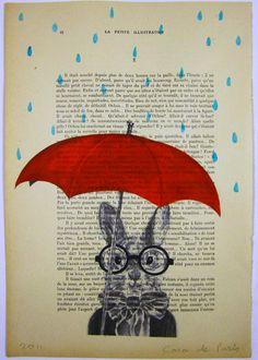 Raining Rabbit - ORIGINAL ARTWORK Hand Painted Mixed Media on 1919 famous Parisien Magazine 'La Petit Illustration' by Coco De Paris