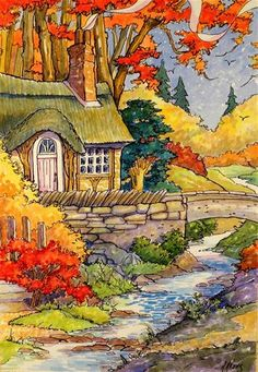 """Daily Paintworks - """"The Brook That Runs Through Autumn Storybook Cottage Series"""" - Original Fine Art for Sale - © Alida Akers"""