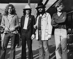 June 1973: British rock band Led Zeppelin. From left to right, Robert Plant, Jimmy Page, John Bonham (1947 - 1980), John Paul Jones.