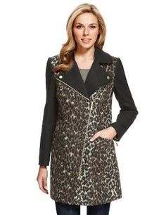 M&S Collection Animal Print Biker Coat with Wool-Marks & Spencer
