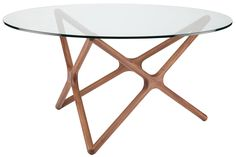 Alyssa Round Dining Table, Walnut - Dining Tables - Dining Tables - Dining Room - Furniture One Kings Lane Furniture Legs, Dining Room Furniture, Dining Room Table, Glass Round Dining Table, Walnut Dining Table, Home Decor Shops, Luxury Home Decor, Tempered Glass Table Top, Contemporary Dining Table