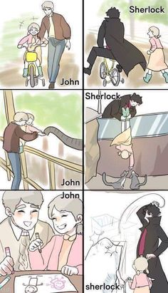 Johnlock Parentlock Sherlock and Rosie <<< HA HA HA THE ARTIST USES MEMES FOR SHERLOCK XD