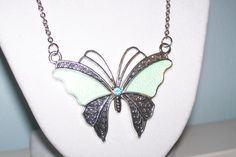 Mint Green Butterfly Necklace by WinningWreaths on Etsy
