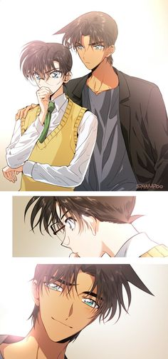 East and West detective Kudo Shinichi and Hattori Heiji Conan Comics, Detektif Conan, Manga Anime, Anime Art, Anime Boys, Heiji Hattori, Detective Conan Shinichi, Magic For Kids, Kaito Kuroba
