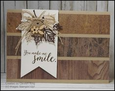 I cased a card from Stampin' Up! using the Wood Textures Designer Series Paper, my card is not an actual match as I changed the decoration. Masculine Birthday Cards, Birthday Cards For Men, Leaf Cards, Paper Cards, Men's Cards, Paper Paper, Diy Cards, Greeting Cards, Beautiful Handmade Cards