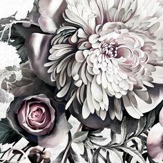 Dark Floral II Light Fresco Sample - Floral Wallpaper Samples - by Ellie Cashman Design