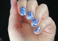 Nageldesign blau Abziehbilder Blumen-Design