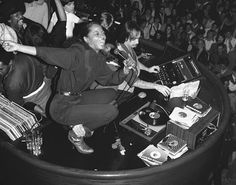 Diana Ross belts out a song from atop the disco booth at Studio 54 on February 3, 1980.