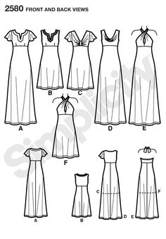 2580 Misses Special Occasion Dresses - Simplicity (sewing pattern for knits, dress sizes US 6-14 and 14-22)