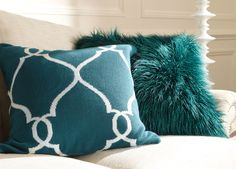 Teal and Ivory Fretwork Pillow