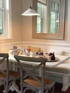 Breakfast Nook make windows halfway up instead of full, add benches perfect  Get bench pillows, table and chairs...done