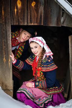 Embroidery Folk Poland- Lachy Sadeckie region- The embroidery on the jacket is extremely opulent which I really liked, the bright colours really stand out against the dark fabric. I also love the traditional embroidery on the Czepek (headscarf) - Polish Embroidery, Folk Embroidery, Folk Fashion, Ethnic Fashion, Traditional Fashion, Traditional Dresses, Traditional Fabric, Folk Costume, Costumes