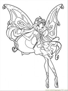 Beautiful Flora Winx Club Coloring Picture For Kids