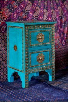 Turquoise nightstand statement piece  -- Earthbound