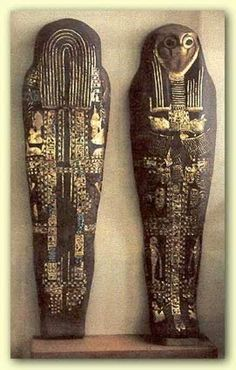 The Silver coffin of Sheshonq I taking the form of Sokar (an Egyptian God of the Underworld)