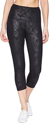 Lorna Jane Womens Black Luxe Palm 7/8 Tights